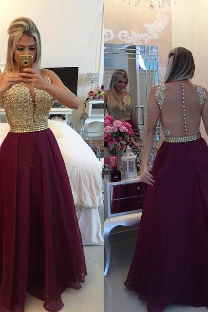 Burgundy a-Line Long Prom Dress with Gold Appliques