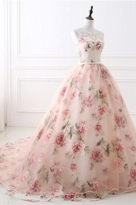 Elegant Lace-Up Floral Printed Ball Gowns Prom Dresses for Women