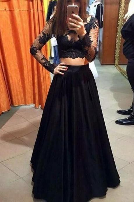 Sexy Black Two Piece Prom Dress with Long Sleeves for Women
