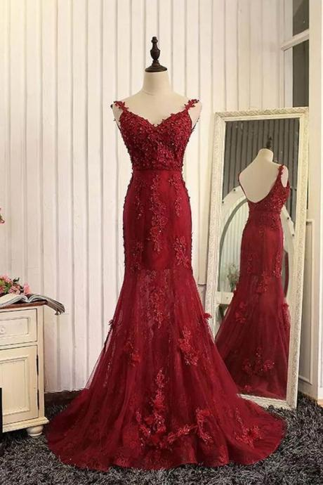 Elegant Dark Red Mermaid Backless Long Prom Dress with Appliques