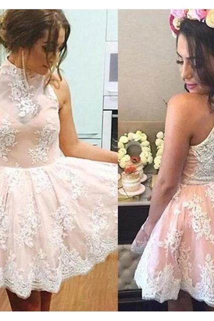 Sexy High Neck Keyhole Back Short Homecoming Dress with Appliques , Formal Prom Dresses