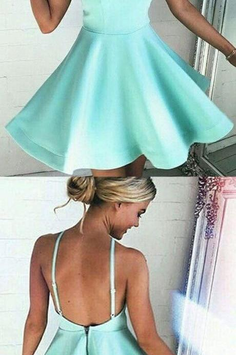 Short Halter Backless Homecoming Dresses, Formal Dresses, Prom Dresses, Party Dresses