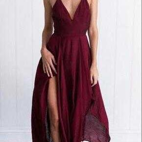 Sexy Burgundy V Neck Long Prom Dresses Evening Dresses Party Dresses for Women