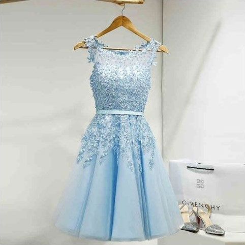 Elegant Knee Length Homecoming Dresses Prom Dresses with Appliques