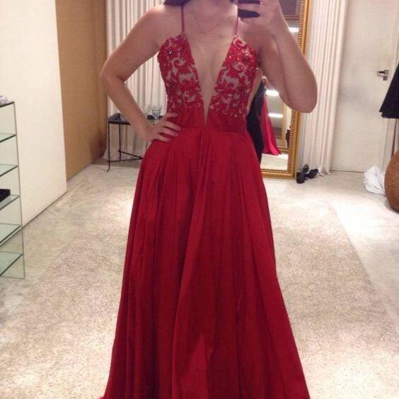 Sexy Spaghetti Straps V Neck Long Prom Dresses Evening Dresses for Women 2017