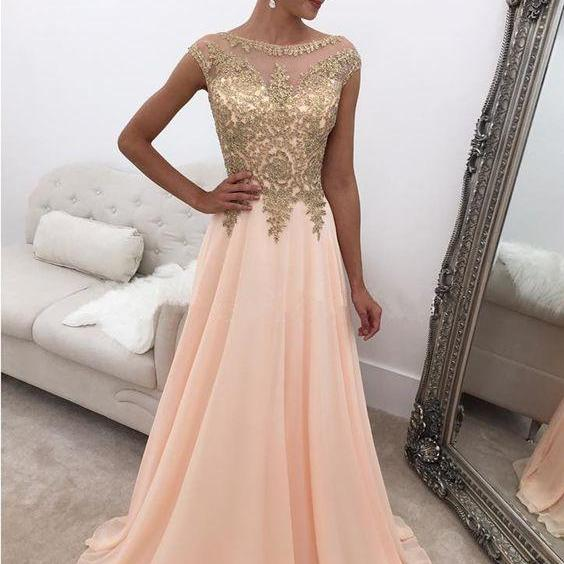 Elegant Chiffon Long Prom Dresses Evening Dresses with Appliques