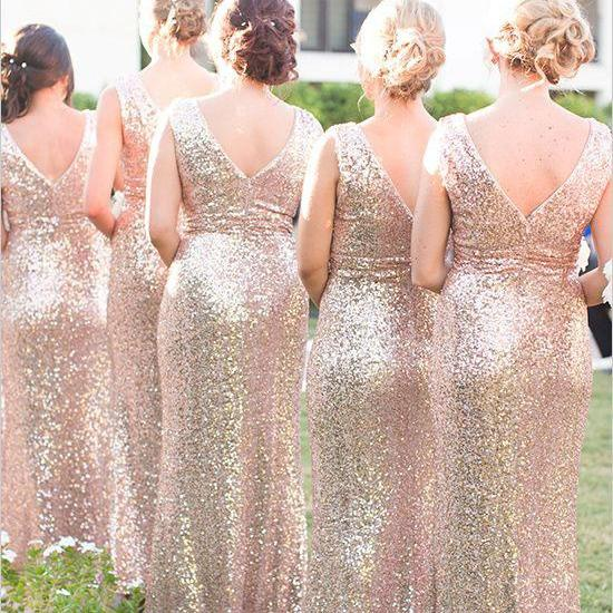 Elegant V Neck V Back Rose Gold Mermaid Bridesmaid Dresses Wedding Party