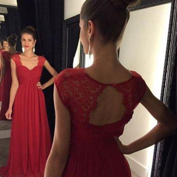 Red Lace Straps Long Prom Dresses Bridesmaid Dresses Wedding Party Gowns