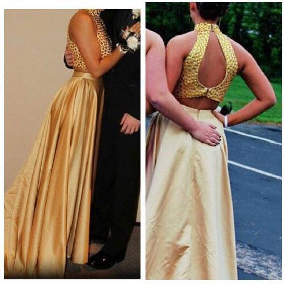 Sexy High Neck Two Peice Gold Long Prom Dresses with Beaded for Women