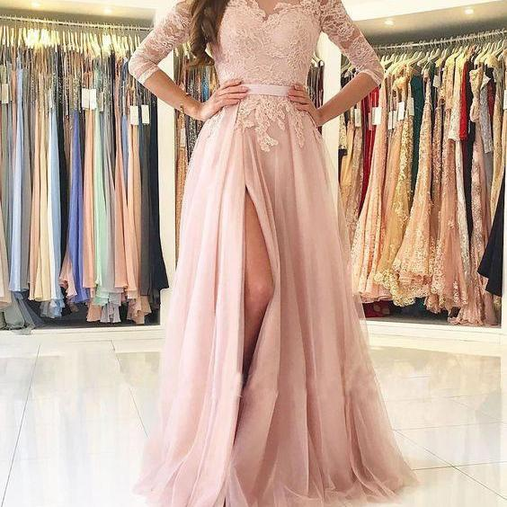 New Arrival 3/4 Long Sleeves Split Side Long Prom Dresses with Appliques Lace