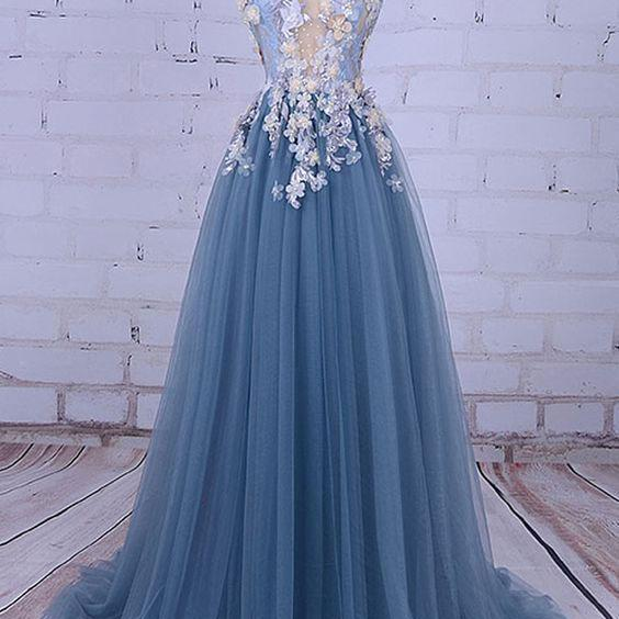 Elegant Sheer Neck Tulle Long Prom Dresses with Handmade Flowers