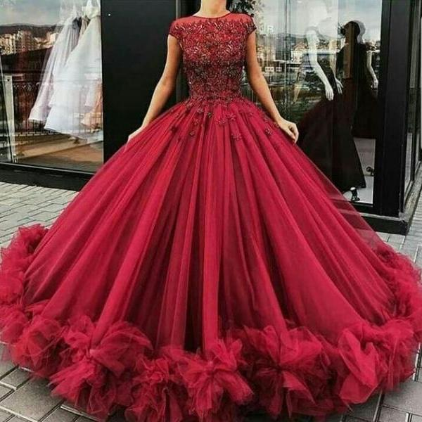 Luxurious Scoop Ball Gowns Burgundy Long Prom Dresses Birthday Dresses