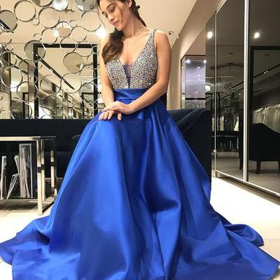 Sparkly Deep V Neck Royal Blue Prom Dresses with Beaded