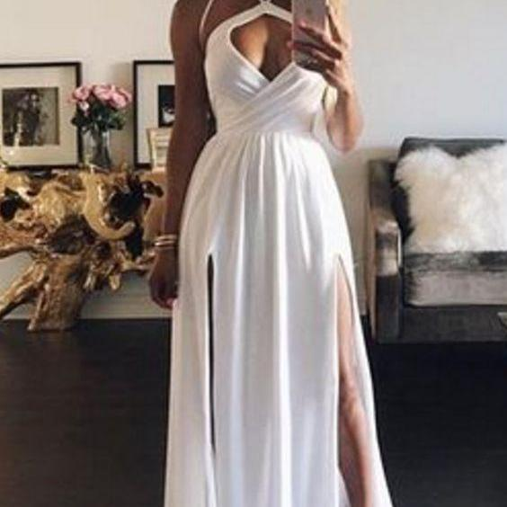 Sexy White Split Front Sweep Train Chiffon Prom Dresses