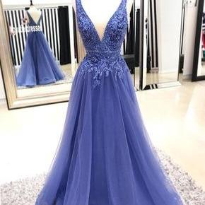 Charming V Neck Long Prom Dresses Evening Dress with Appliques for Women