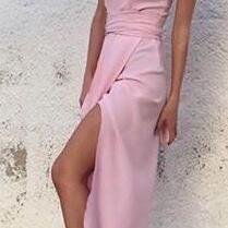 Strapless Pink Split Side Long Prom Dresses Evening Dress for Women