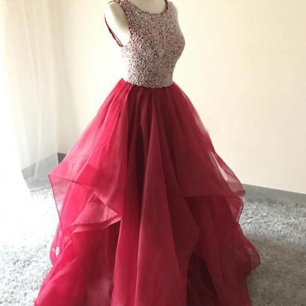 Sparkly Beaded Red Prom Dresses for Women with Beaded Long