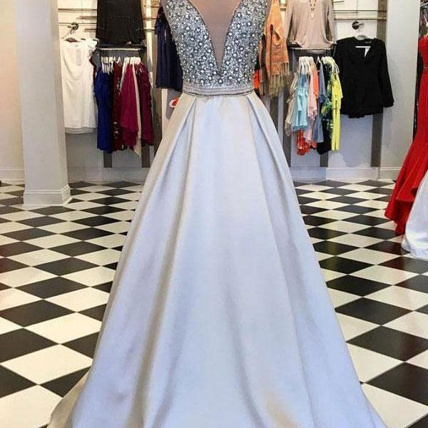 Deep V Cut Spakly Beaded Long Prom Dresses Evening Dress
