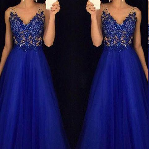 V Neck Royal Blue Prom Dresses Long Evening Dress for Women