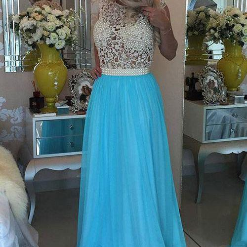 Elegant Sleeveless Long Prom Dresses with Lace Pearls for Women
