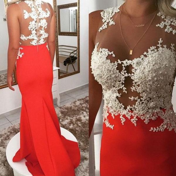 High Quality Sheer Neck Mermaid Prom Dresses with Appliques