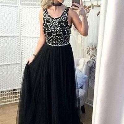 Scoop Sweep Train Black Long Prom Dresses with Rhinestone
