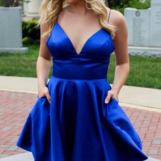 Spaghetti Straps Royal Blue Short Homecoming Dresses Under 100