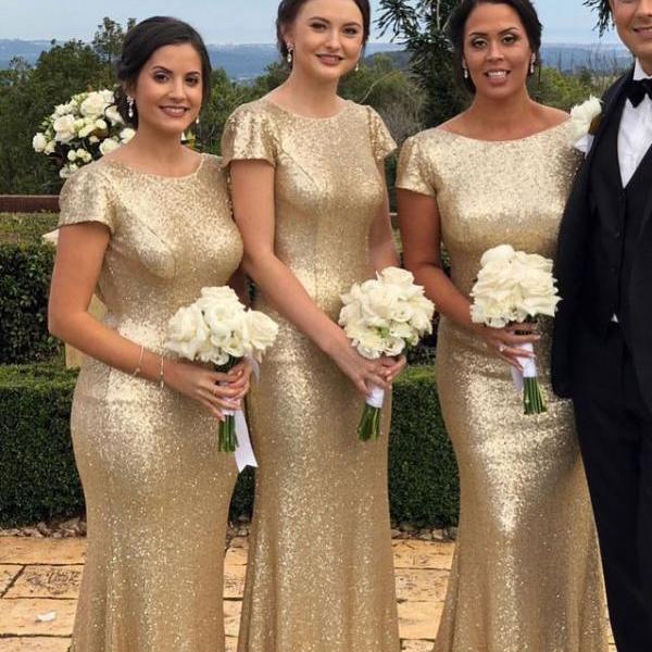 Short sleeves Sheath Long Bridesmaid Dresses for Wedding Party Sequins