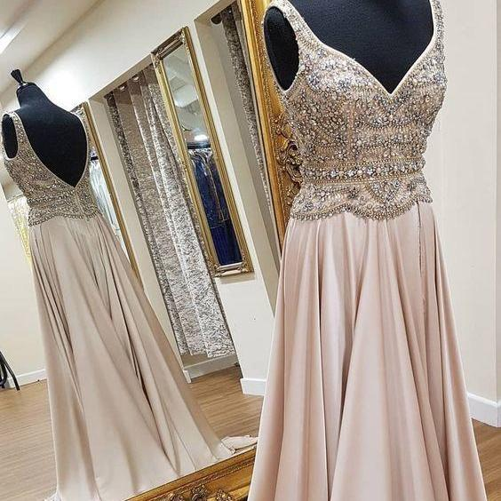 Elegant V Neck Long Prom Dresses with Rhinestone Evening Gowns
