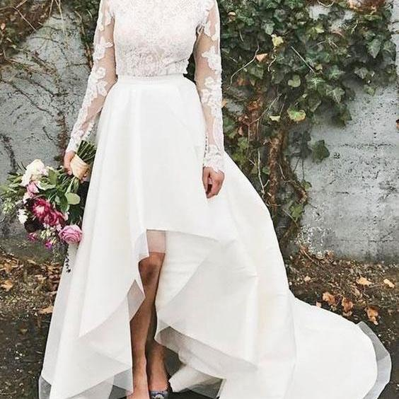 High Neck Long Sleeves Wedding Dresses Bridal Gowns with Lace Appliques
