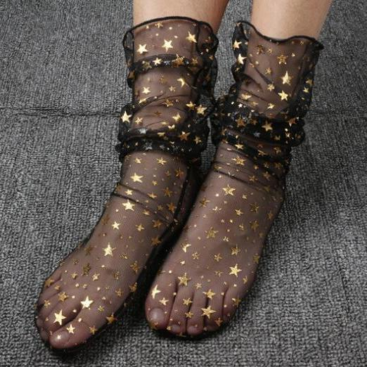 Fashion Sheer Glitz Sheer Socks 3 Piece/Set