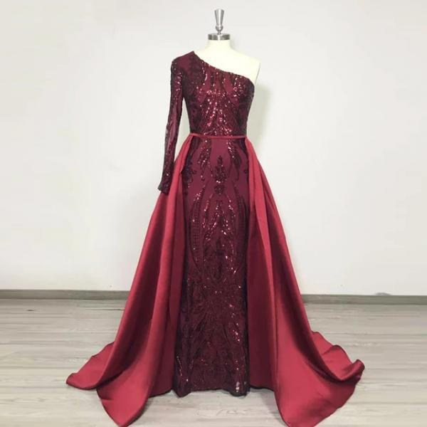 Single Length Burgundy Prom Dresses Evening Gown