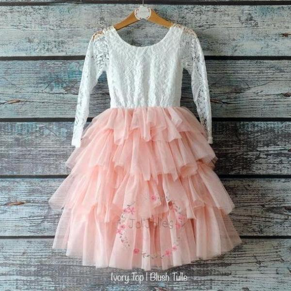 Blush Flower Girl Dresses Tea Length with Handmade Fower